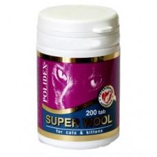 Полидекс Super Wool для кошек улучшает состояние шерсти, кожи, когтей, 200 таб. (7840)
