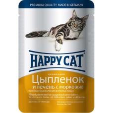 Хэппи Кэт консервы для кошек цыпленок, печень с морковью нежные кусочки в желе, 100гр. (05112)