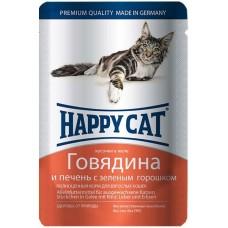 Хэппи Кэт консервы для кошек говядина, печень с горошком нежные кусочки в желе, 100гр. (05069)