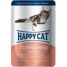 Хэппи Кэт консервы для кошек говядина, птица нежные кусочки в соусе, 100гр. (05106)
