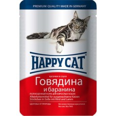 Хэппи Кэт консервы для кошек говядина, баранина нежные кусочки в соусе, 100гр. (05098)
