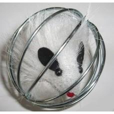"""Beeztees 425021 Игрушка для кошек """"Мышь меховая в металлическом шаре"""", в ассортименте 5,5см (C16315)"""