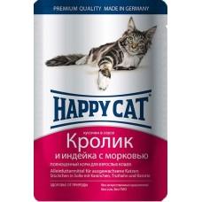Хэппи Кэт консервы для кошек кролик, индейка с морковью нежные кусочки в соусе, 100гр. (05107)