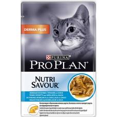 Pro Plan Nutri Savour DERMA для кошек с чувствительной кожей, треска в соусе, 85гр., пауч (P25358)