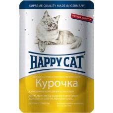 Хэппи Кэт консервы для кошек курочка ломтики нежные кусочки в соусе, 100гр. (05109)