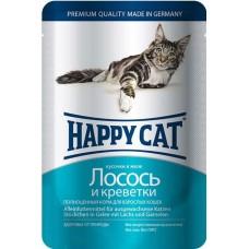 Хэппи Кэт консервы для кошек лосось, креветки нежные кусочки в желе, 100гр. (05072)