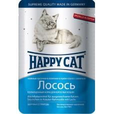 Хэппи Кэт консервы для кошек лосось ломтики нежные кусочки в соусе, 100гр. (05110)