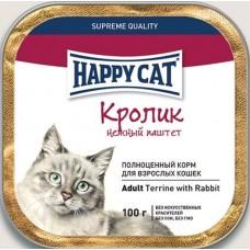 Хэппи Кэт консервы для кошек паштет кролик, 100гр. (05391)
