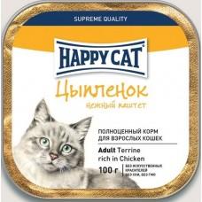 Хэппи Кэт консервы для кошек паштет с цыпленком, 100гр. (05382)