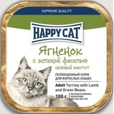 Хэппи Кэт консервы для кошек паштет ягненок/фасоль, 100гр. (05381)