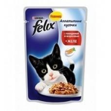 Felix с говядиной и морковкой в желе вакуумная упаковка, 85гр. (05198)