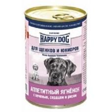 Хэппи Дог консервы для щенков - Аппетитный ягненок, печень, сердце и рис, 410гр. (10135)