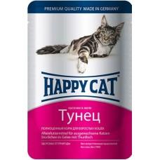Хэппи Кэт консервы для кошек тунец нежные кусочки в желе, 100гр. (05095)