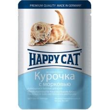 Хэппи Кэт консервы для котят курочка с морковью нежные кусочки в соусе, 100гр. (05111)