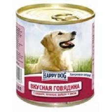 Хэппи Дог консервы для собак говядина, сердце, печень, рубец и рис, 750гр. (10140)