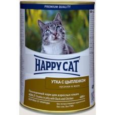 Хэппи Кэт Консервы в желе для взрослых кошек с уткой и цыпленком, 400гр. (05387)