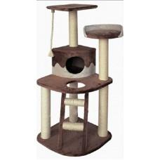 """Beeztees 405770 Комплекс для кошек: Дом """"Smarty"""" угловой с 3 полками, лестницей и канатом 55*55*120см"""
