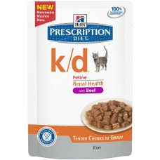 Hill's Prescription Diet K/D для кошек лечение заболеваний почек, Говядина, пауч 85г (C37630)