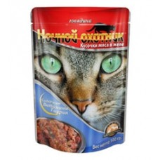 Ночной охотник консервы для кошек говядина в желе, 100 гр. (51688)