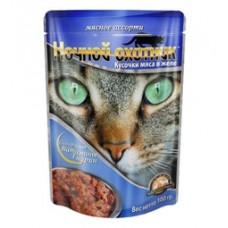 Ночной охотник консервы для кошек мясное ассорти в желе, 100 гр. (07676)