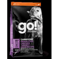GO! CARNIVORE Беззерновой для пожилых собак всех пород 4 вида мяса: Индейка, Курица, Лосось, Утка 32/14