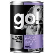 GO! NATURAL Holistic Консервы беззерновые с тушеной курицей, индейкой и мясом утки для собак (GO! Grain Free Chicken Stew with Turkey + Duck DF)
