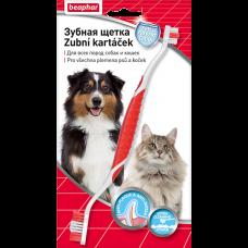 Beaphar Двойная зубная щетка Toothbrush для всех пород собак и кошек